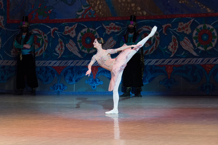 Kyiv, Ukraine- April 7, 2017 : ballet dancer young ballerina dancing during ballet Corsar or Le Corsaire at National opera of Ukraine