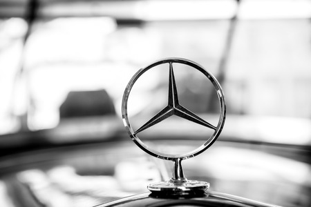 Berlin, Germany - may 31, 2017: Mercedes Benz Sign or logo Close Up. Founded in 1926 is a German luxury automobile manufacturer, a multinational division of the German manufacturer Daimler AG Editorial