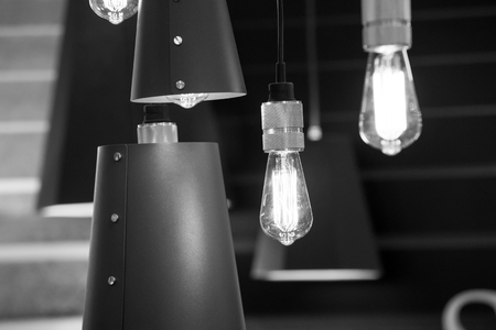 Background of old style edison lamps retro and vintage Stock Photo