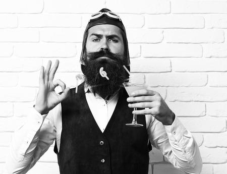 serious handsome bearded pilot