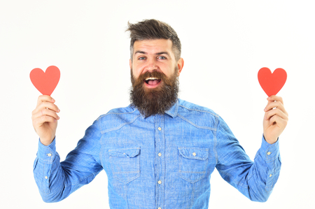 Hipster ready to celebrate valentines day or to congratulate Stock Photo