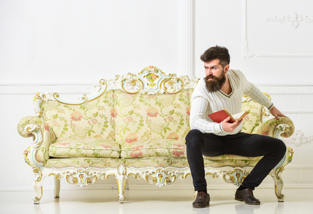 Man with beard and mustache sits on baroque style sofa, holds book, white wall background. Macho on strict face finished reading book. Reflections on literature concept. Guy thinking about literature 版權商用圖片