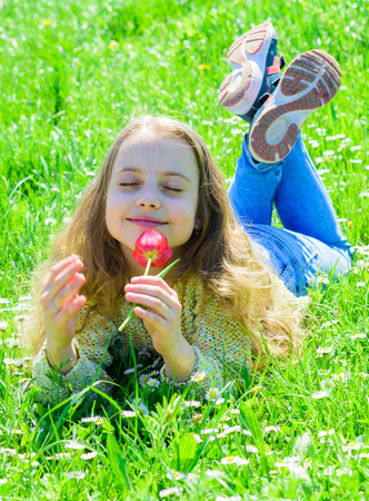 Child enjoy fragrance of tulip while lying at meadow. Girl on peaceful face holds red tulip flower on sunny spring day. Spring mood concept. Girl with long hair lying on grassplot, grass background