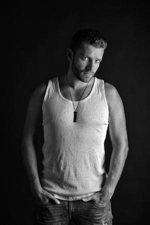 Fashion model on grey background.