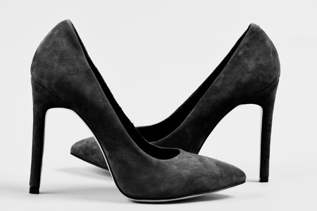 Shoe shop. Suede high heel shoes as fashion and beauty concept