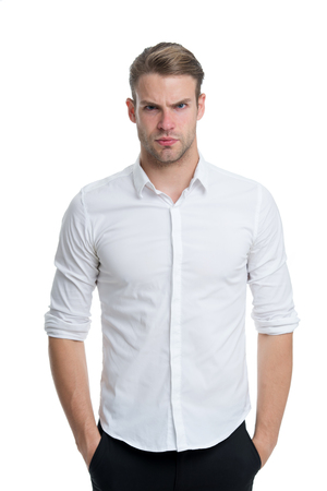 Young and confident. Man well groomed unbuttoned white collar elegant shirt isolated white background. Macho confident ready work office. Guy office worker handsome attractive puts hands pockets Stock fotó