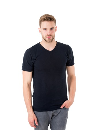 Macho isolated on white. Man with trendy look. fashion for men. Bearded man with serious look. Black friday and sale. Casual in style. Handsome and confident Stock fotó