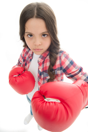 That is what I think. Girls power. Every kid should know how defend own point of view. Girl seriously defending her opinion. Child serious face with gloves practice boxing skills isolated white