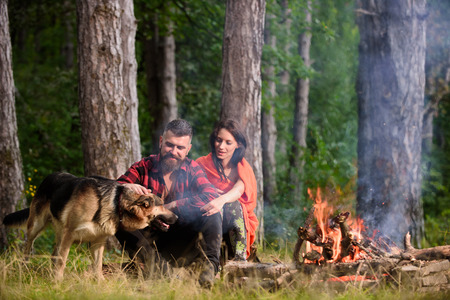 Couple in love or young happy family spend time together. Man play, pat german shepherd dog near bonfire, nature background. Best friend concept. Woman, man and dog on vacation, hiking. Stock Photo