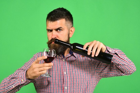 Winemaker with strict face holds wineglass and bottle of wine. Sommelier tastes expensive beverage. Viticulture and autumn concept. Man with beard pours wine into glass, isolated on green background