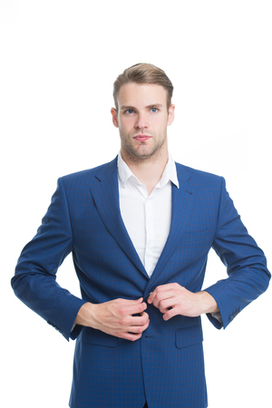 Successful cheerful small business owner standing in suit. Welcome on board. Confident business expert. Office routine. Modern businessman. formal fashion and business look. big boss