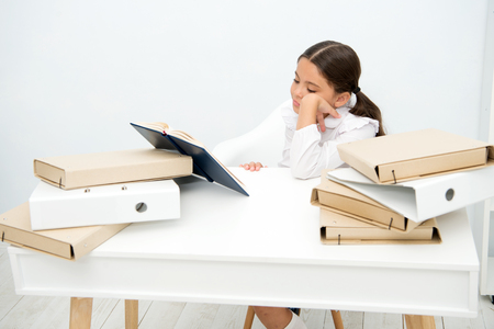 Bored concept. Cute girl got bored with much information. Little child feel bored and dull doing homework. I am bored.