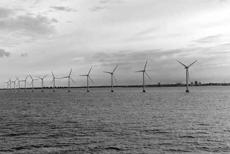 Wind turbines in sea in Copenhagen, Denmark.