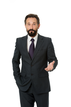 Businessman formal suit mature man isolated white. Businessman bearded handsome entrepreneur. Successful businessman concept. Customer service tips improve business. Businessman glad to meet you. 免版税图像
