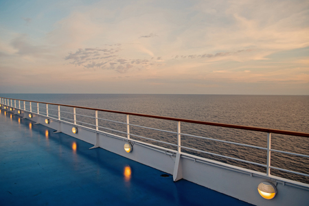 Ocean view from cruise ship at the evening