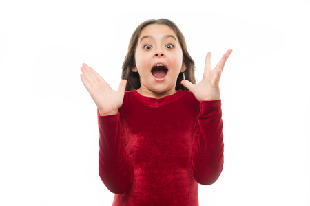 Child excited emotional can not believe her eyes.