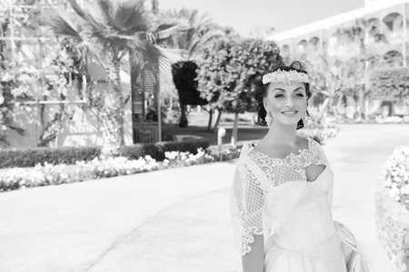 Things consider for wedding abroad. Bride adorable white wedding dress