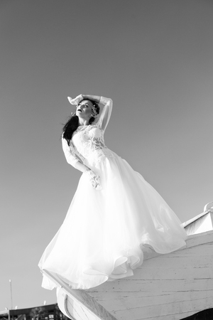 Her perfect day. Things consider for wedding abroad. Banco de Imagens