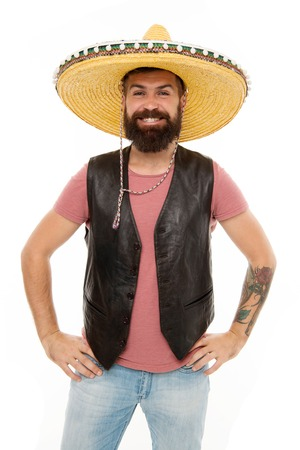Man bearded cheerful guy wear sombrero mexican hat.