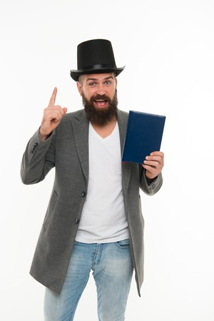 Man bearded guy cheerful face solve problem as magician.
