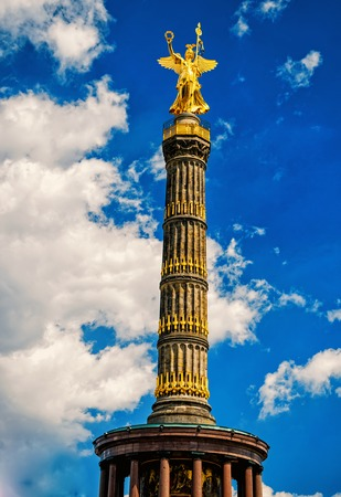 The Victory column in Berlin Tiergarten, at sunny summer day Berlin, Germany