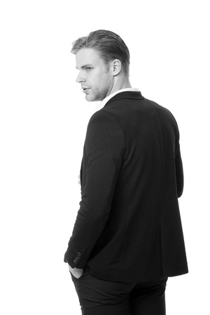 His style classic. Man well groomed in formal outfit rear view isolated white. Business dress code means for men suit. Business dress code. Businessman gentleman dressed classic professional attire. Stock fotó