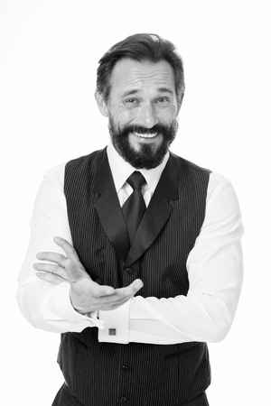 Man bearded cheerful businessman tell unbelievable story isolated white. Pleasant communication with businessman. Businessman share funny story. Amazing business news. Can you believe that.