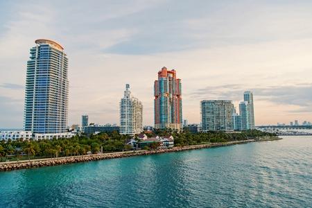 miami. south miami beach. Beautiful coastline of Miami Beach shot from air