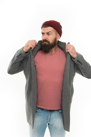 Find outfit style you feel comfortable. Stylish casual outfit. Menswear and fashion concept. Man bearded hipster stylish fashionable coat and hat. Stylish outfit hat accessory. Pick matching clothes.