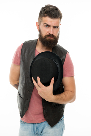 Let me introduce myself. Want some magic trick. Illusionist trick performance concept. Illusionist circus worker. Applause great artist. Man bearded strict illusionist. Fun with illusionist. Banque d'images