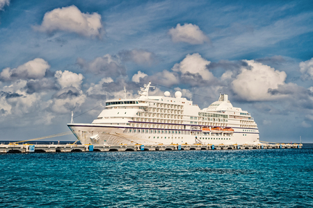 Luxury cruise ship at port of cozumel