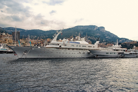 Luxury yachts in Monaco Monte Carlo harbor at day. cruise ship. France