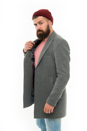 Find outfit style you feel comfortable. Man bearded hipster stylish fashionable coat and hat. Stylish outfit hat accessory. Pick matching clothes. Stylish casual outfit. Menswear and fashion concept.