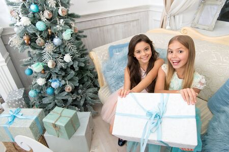 Try it. Child enjoy the holiday. Happy new year. Winter. xmas online shopping. Family holiday. Christmas tree and presents. The morning before Xmas. Little girls.