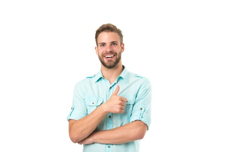Best choice. Man handsome bearded guy smiling on white background isolated. Guy cheerful smile macho feels happy and satisfied. Positive emotions. Man with sincere smile. Good mood. Brilliant smile. Standard-Bild - 120907959