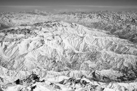 Snowy peaks on mountain landscape. Earth surface. Environment protection and ecology. Wanderlust and travel. Our Earth is the future of our generation. Standard-Bild - 120907968