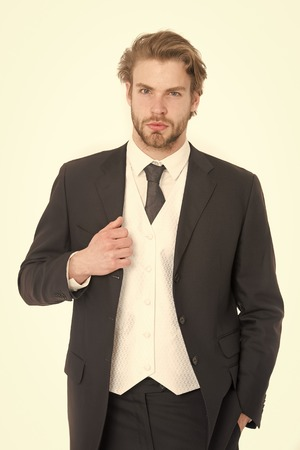 Man in formal outfit isolated on white. Manager with beard on serious face. Fashion and beauty. Business and success. Businessman or ceo in black jacket. Standard-Bild - 120907990