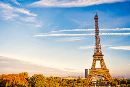 Eiffel Tower at sunset in Paris, France. Stock Photo
