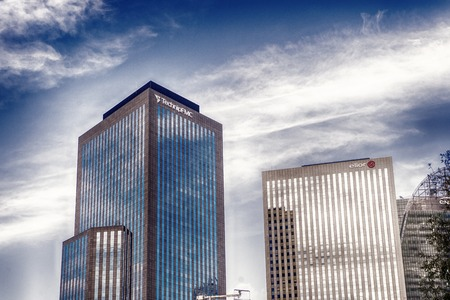 Paris, France - September 30, 2017: office buildings on blue sky background. Architecture, future business concept Reklamní fotografie