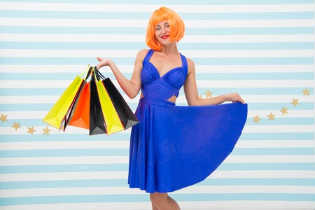 Choosing the best. Fashion. Black Friday sales. Last preparations. big sale in shopping mall. Crazy girl with shopping bags. happy woman go shopping. Happy shopping online. Happy holidays. Stock Photo