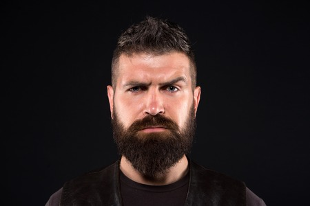Bearded man. Male fashion. brutal caucasian hipster with moustache. Facial care. Mature hipster with beard. Fashion portrait of man. serious man. Hair and beard care. 版權商用圖片