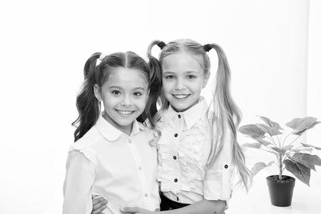 Back to school. Happy little girls in uniform. Back to school concept. Little girls with stylish hair isolated on white Foto de archivo
