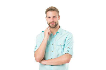 Think to solve. Guy thoughtful touches his chin. Thoughtful mood concept. Think about solution. Close to solution. Man with bristle smiling face thinking white background. Man with beard thinking.