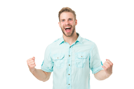 Achieve success. Man with beard happy about solution. Celebrate good result. Solution for all problems. Find solution. Man with bristle smiling face white background. Guy happy find solution. Stock Photo