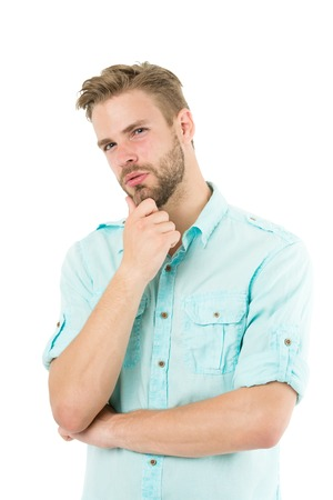 Think to solve. Close to solution. Man with bristle serious face thinking white background. Guy thoughtful touches his chin. Thoughtful mood concept. Man with beard thinking. Think about solution.