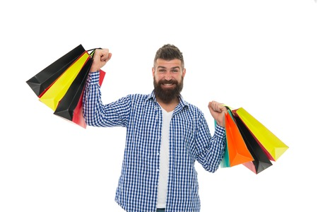 Bearded man with shopping bags.. Mature happy hipster with beard. Shopping sale. Male barber care. brutal caucasian hipster with moustache. Black Friday. Cyber Monday. Heavy bags.