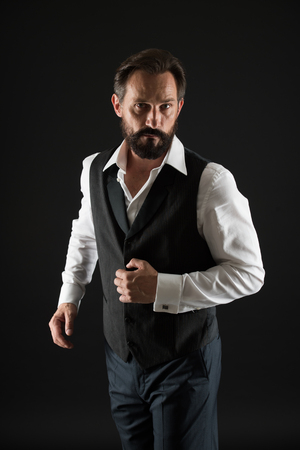 Elegant outfit mature man. Take good care of your silhouette. How to dress for your age. Elegancy and male style. Formal outfit. Classy style. Man bearded guy wear white shirt and classic vest outfit.
