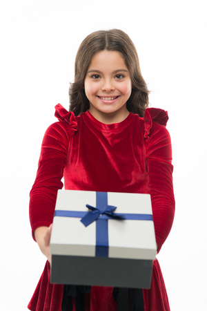 Happy birthday gift. small girl after shopping. big sale in shopping mall. Boxing day. Little girl with present box. Thanks for your purchase. Home shopping. Shopaholic. Online shop. Stockfoto