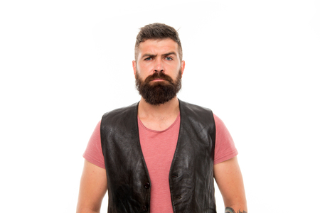 Hipster with beard brutal guy. Masculinity concept. Barber shop and beard grooming. Styling beard and moustache. Fashion trend beard grooming. Facial hair treatment. Masculinity brutality and beauty.
