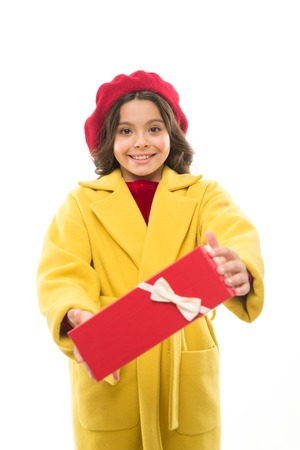 Birthday wish list. Girl happy kid hold birthday gift box. Birthday shopping. Every girl dream about such surprise. Birthday girl carry present with ribbon bow. Visit fashion store to choose gift.